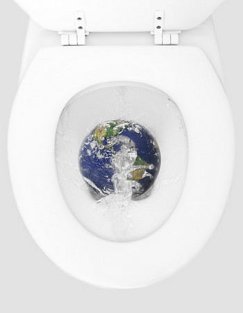 Flushing loo with globe