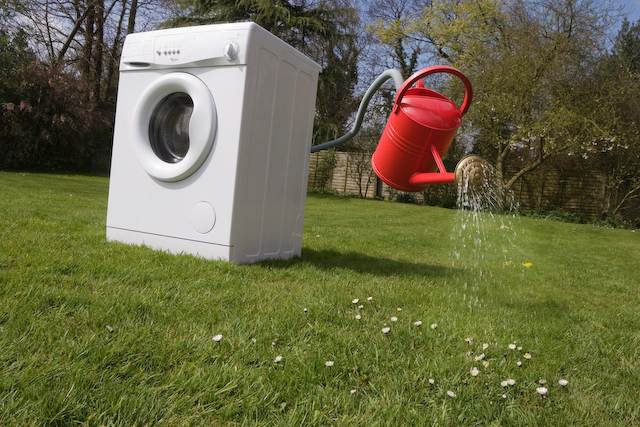 Water from washing machines and other household appliances can be recycled for use on the garden or in toilets.