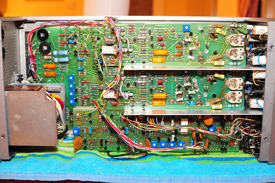 Top two boards are vertical amplifiers, the bottom board is a sweep generator. The board on the left is one of several power supplies.