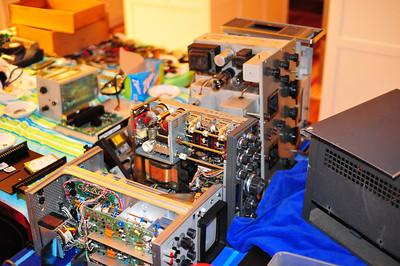 Scope, Kenwood HF transceiver, Hammarlund HF receiver, Nixie voltmeter (elec. instruments HP).