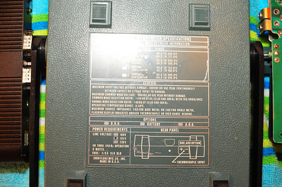 Bottom of case. Note 440Hz operation.