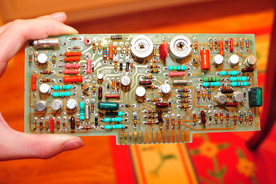High-voltage supply board (note red socket in upper left)