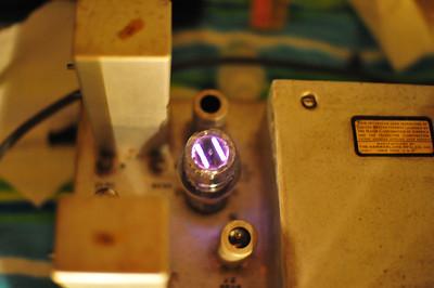 Mercury tubes glow a rather magical purple.