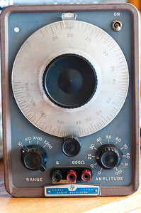 The HP 200AB is a distinctive test oscillator in that its operation is prescribed by William R. Hewlett's master's thesis at Stanford and was protected by the first patent held by Hewlett Packard, #2,268,872. Adjusted for inflation cost : $1500. Prior owner: Case Institute of Technology.