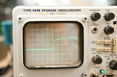 Non-storage photograph, 700pS risetime from scope calibrator.