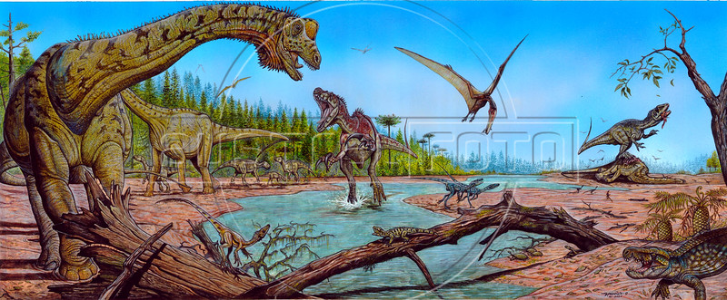 This image released by the National Museum of Brazil, shows what could be a new dinosaur species, named as Futalognkosaurus dukei dinosaur, a giant, plant-eater, uncovered in Argentina's Patagonia region, in Rio de Janeiro, Brazil, 15 October 2007. With a length of 32 meters, it is among the largest ever found, and is named 'Futalognkosaurus dukei' after the Mapuche Indian words for 'giant'.  The Patagonian dinosaur was uncovered on the banks of Lake Barreales in the Argentine province of Neuquen and according with the scientists the giant herbivore walked the Earth some 88 million years ago.  (FOTO: /Austral Foto/National Museum of Brazil)