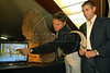Argentinian paleontologists Jorge Calvo, right, of Comahue University of Argentina and Juan Porfiri, left, investigator of Comahue University, present, a replica of a dinosaur skeleton of what could be a new dinosaur species, a giant, plant-eater, uncovered in Argentina's Patagonia region, in Rio de Janeiro, Brazil, 15 October 2007. With a length of 32 meters, it is among the largest ever found, and is named 'Futalognkosaurus dukei' after the Mapuche Indian words for 'giant'.  The Patagonian dinosaur was uncovered on the banks of Lake Barreales in the Argentine province of Neuquen and according with the scientists the giant herbivore walked the Earth some 88 million years ago.  (Austral Foto/Renzo Gostoli)