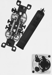 NEMA5-15, vidicon tube, and small analog meter, inverted.