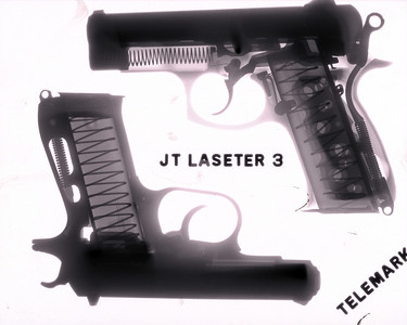 Pair of CZ pistols, inverted because of the challenges presented by such thick metal. Top is aluminum -- note wider range of tones (contains aluminum and steel).