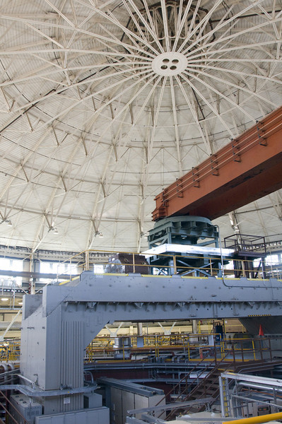 Ernest Lawrence's largest cyclotron is now one base of an enormous crane over Berkeley's Advanced Light Source.