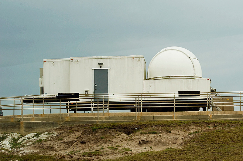 Remote camera building near launch pads 39A and 39B where Space Shuttles were launched at Kennedy Space Center