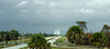 Looking down the Kennedy Parkway at the Vehicle Assembly Building (VAB) 4 miles in the distance at Kennedy Space Center