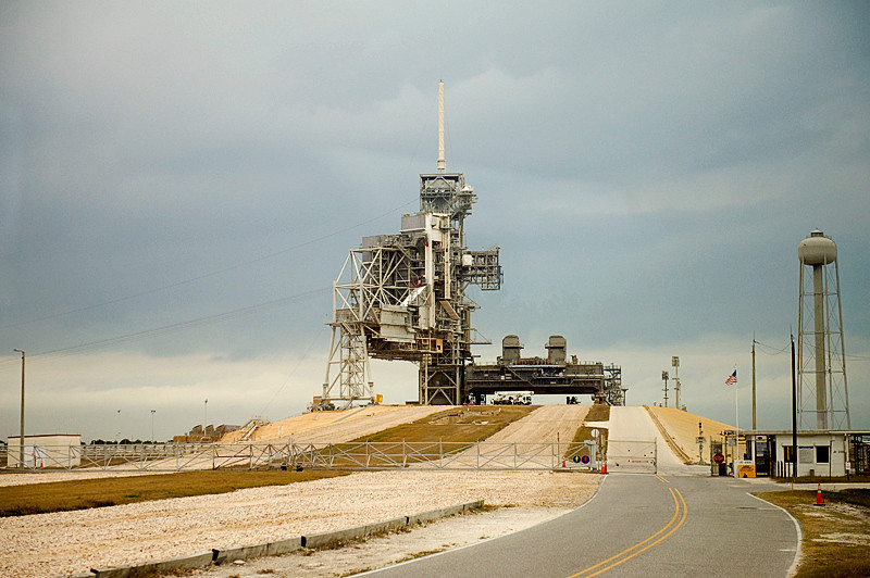 Launch Pad 39A from where the final Space Shuttle mission was launched on July 8, 2011, as seen from the crawler-transporter road at Kennedy Space Center