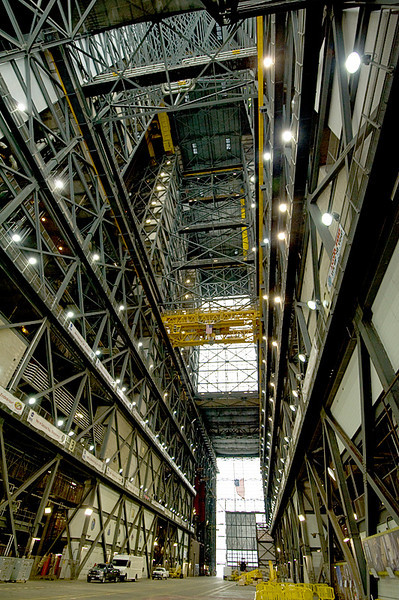 Inside the Vehicle Assembly Building (VAB), looking up to the roof, 526 feet overhead, at Kennedy Space Center