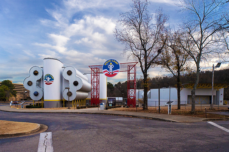 U.S. Space and Rocket Center - Entrance to Space Camp with the Space Camp Dorm to the left of the Entrance