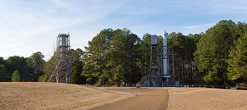 View of the Redstone Test Stands in the Marshall Space Flight Center while standing at the Blockhouse