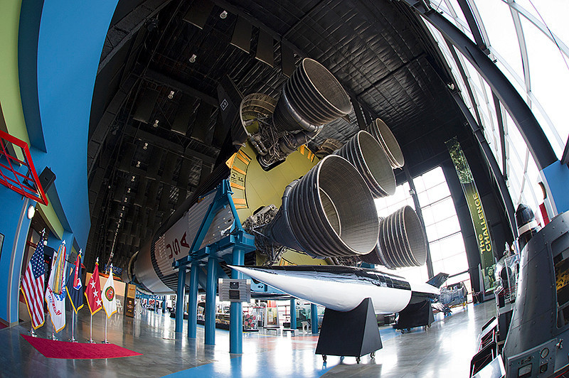 U.S. Space and Rocket Center - Saturn V Exhibit, First Stage of the Saturn V with a German V2 below in the Museum