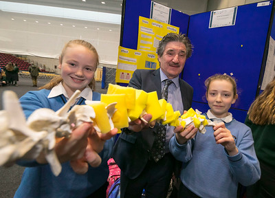 "01/05/2018. SciFest at WIT (Waterford Institute of Technology) at the Arena. Pictured are Minister John Halligan TD with Aine Kavanagh and Niamh Gallagher from Mercy School, Waterford with their project ""does carrying a schoolbag affect your height. Picture: Patrick Browne"