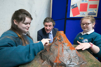 01/05/2018. SciFest at WIT (Waterford Institute of Technology) at the Arena. Pictured with Minister John Halligan TD are Ella Chapman and Megan Bunnett from Ard Scoil Na Mara Tramore with their project on Volcanoes. Picture: Patrick Browne