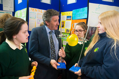 01/05/2018. SciFest at WIT (Waterford Institute of Technology) at the Arena. Pictured with Minister John Halligan TD are Margaret Brennan, Anita Byrne and Casey O'Connor from St. Marys Secondary School, New Ross with their project on Wind Turbins. Picture: Patrick Browne