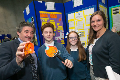 01/05/2018. SciFest at WIT (Waterford Institute of Technology) at the Arena. Pictured are Minister John Halligan TD, Didier Bolger and Beau Kelly from Ard Scoil Na Mara and Cordula Weiss from Calmast WIT. Picture: Patrick Browne