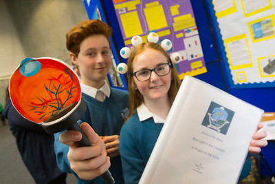 01/05/2018. SciFest at WIT (Waterford Institute of Technology) at the Arena. Pictured are Beau Kelly and Didier Bolger from Ard Scoil Na Mara with their project on the Eyes. Picture: Patrick Browne