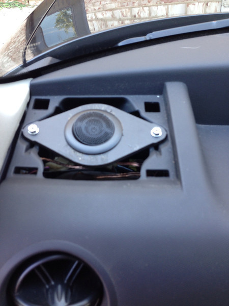 """Aftermarket tweeter and tweeter adapter   from  <a href=""""http://www.car-speaker-adapters.com/items.php?id=SAK012""""> Car-Speaker-Adapters.com</a>    installed in dash"""