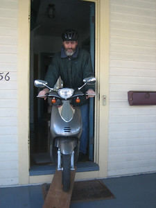 Getting the scooter out of the house is the first step.  (We don't have a garage.)
