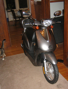 Assembled scooter in dining room