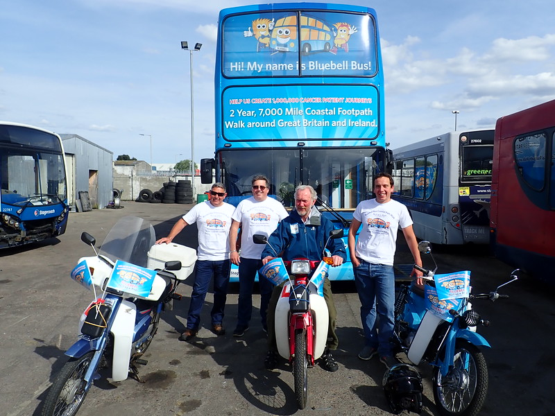 Paul King, Daniel Laurie and Michael Perry riding the The North Coast 500 on classic Mopeds