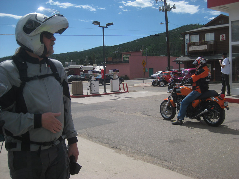 Fueling up - see the Triumph? - beginning of Berthoud - Rocky Mountain Nat'l Park ride