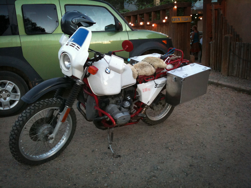 BMW R80gs; dinner at Eskes; Riding Taos 2011