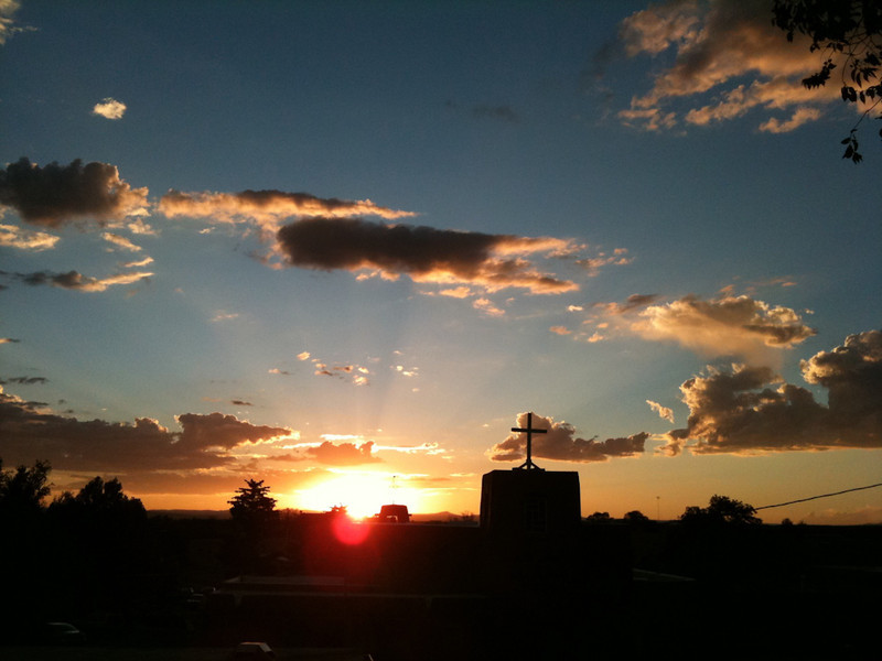 Spectacular sunset in Taos; Riding Taos 2011