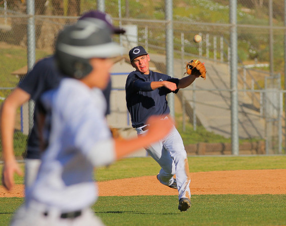 This shot from January.  Casey, then a freshman, played third base on the Junior Varsity team at Camarillo High.