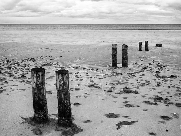Some posts buried in the sand
