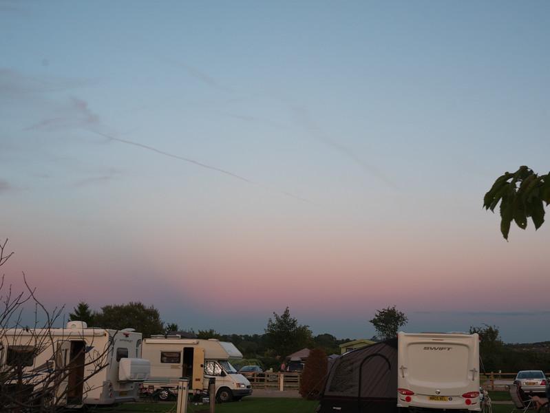 Sunset in campsite