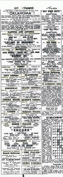 Aberdeen Cinema Listings Evening Express May 1952