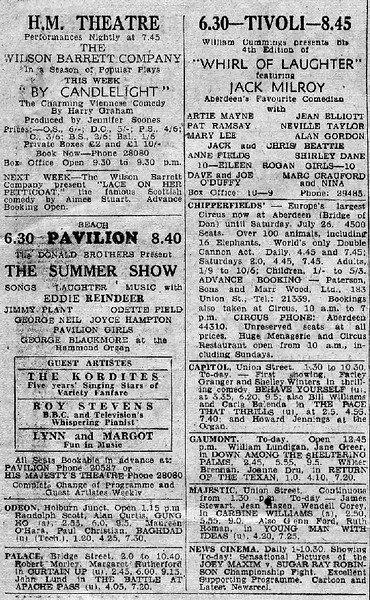 Aberdeem Newspaper Cinema Adverts circa 1952