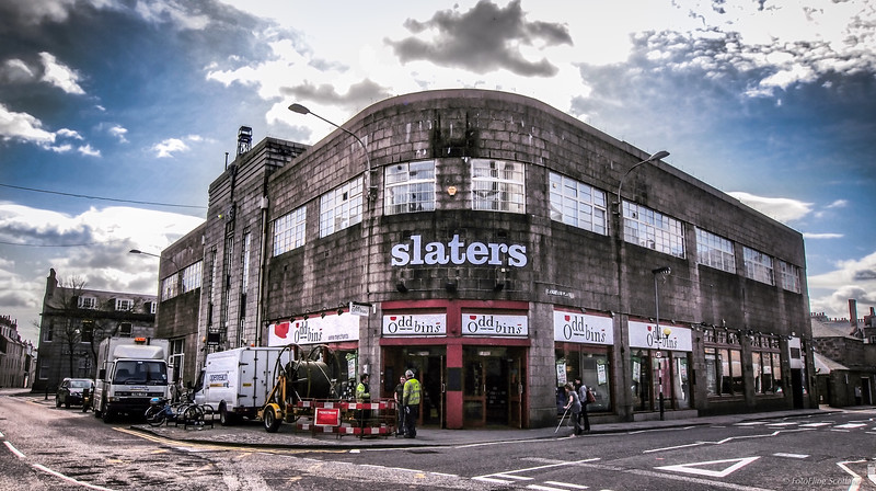 Art Deco Aberdeen Building designed by A.G.R Mackenzie in 1937 - formerly an SMT Garage and now Slaters Menswear and Oddbins