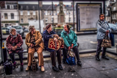 Ladies at the Bus Stop Huntly, Aberdeenshire