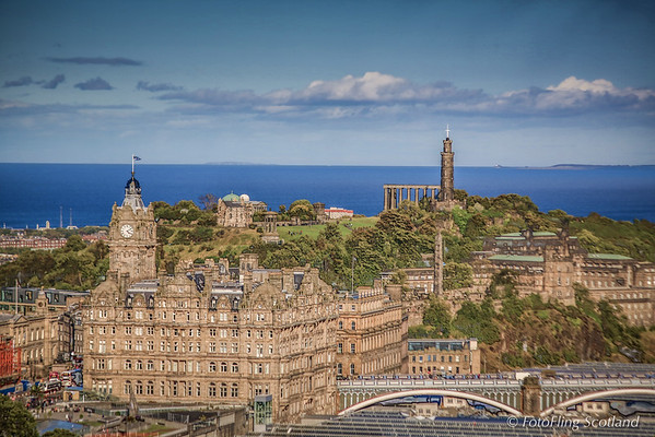 Calton Hill from Edinburgh Castle (HDR)