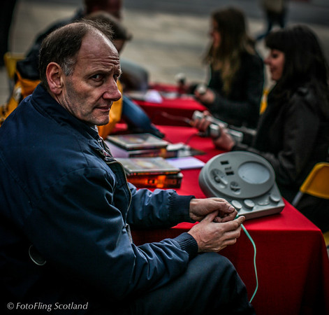 Free Stress Test! Scientologist about to administer stess test in Castle Street, Edinburgh
