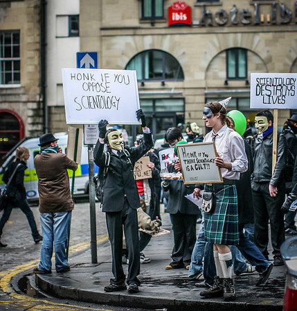 Protestors in Edinburgh