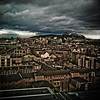 Arthur's Seat from the rooftops of Edinburgh