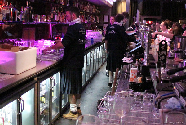 Kilted Bar Staff at Ghillie Dhu