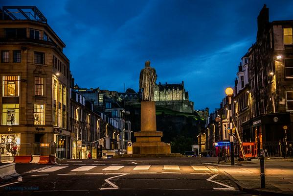 Edinburgh Castle from Castle Street at Dusk