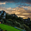 Ramsay Garden and Edinburgh Castle at Sunset