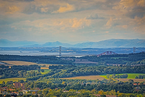 Forth Road and Railway Bridges from Corstorphine Hill