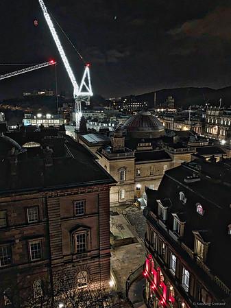 Floodlit Cranes & Backstreets of Edinburgh