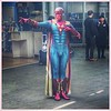 Superhero comes to Waverley Station, Edinburgh